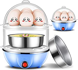 Voefen Durable Electric Egg Cooker, Boiler, Poacher Maker Steamer Boiled,Buzzer Medium Hard Boiled Eggs Alarm Timer Settings Stainless Steel with Automatic Shut Off