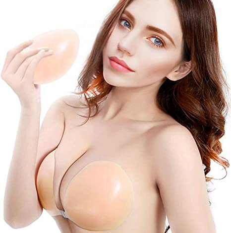 aingycy Adhesive Invisible Bra Strapless Drawstring Push-up Silicone Bra for Women