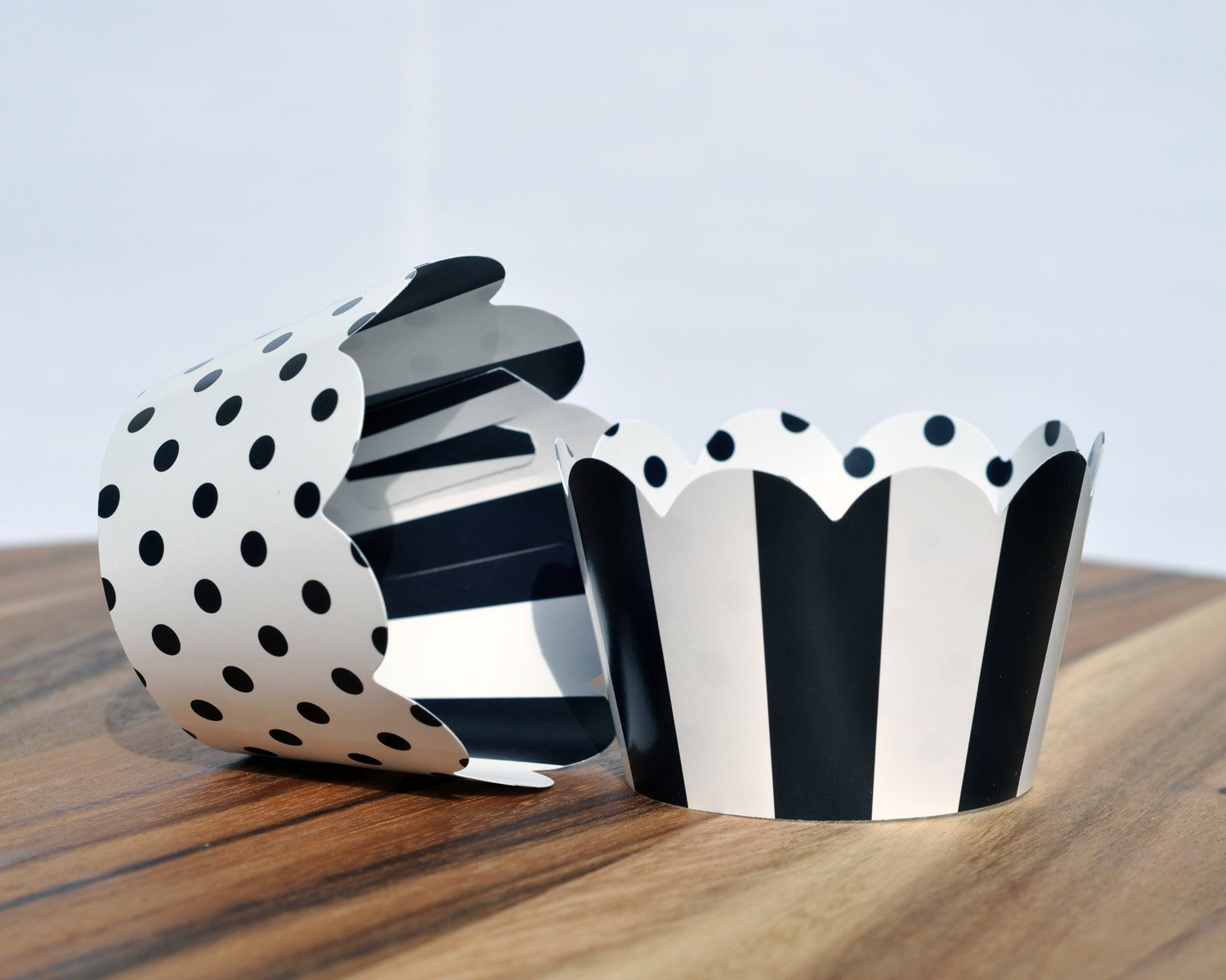 Black and White Cupcake Wrappers for Weddings, Graduations, Kids and Adult Birthday Parties, Baby Showers. Set of 24 Reversible Cup Cake Holder Wraps with Polka Dots and Stripes. Black, White by Toula Products (Image #2)