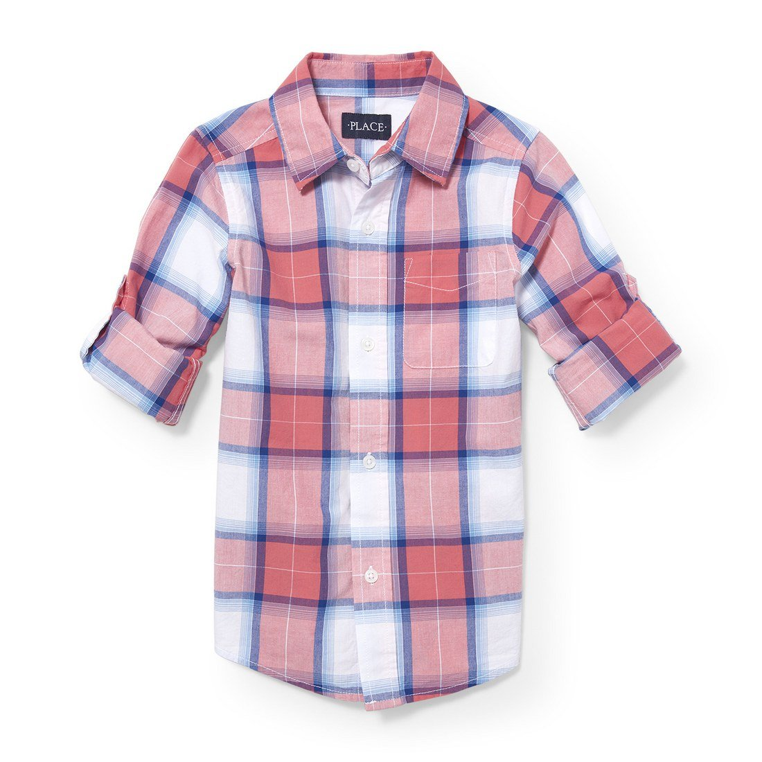 The Children's Place Big Boys' Roll Tab Woven Button Down Shirt, Astilbe 3838, XS (4)