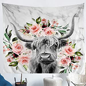 Erosebridal Highland Cow Flower Tapestry Bull Cattle Wall Hanging Bedroom Decorative Western Funny Animal Wall Tapestry Wildlife Farmhouse Cow Wall Blanket Rose Grey Marble Tapestries Medium 59x59