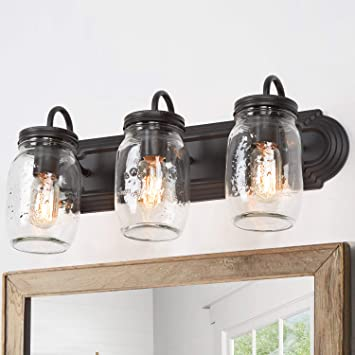 "Bathroom Vanity Light Fixtures, Farmhouse Lighting, Mason Jar Lights for Bathroom, Foyer, Oil Rubbed Bronze (19""L×7.1""W×8.7""H)"