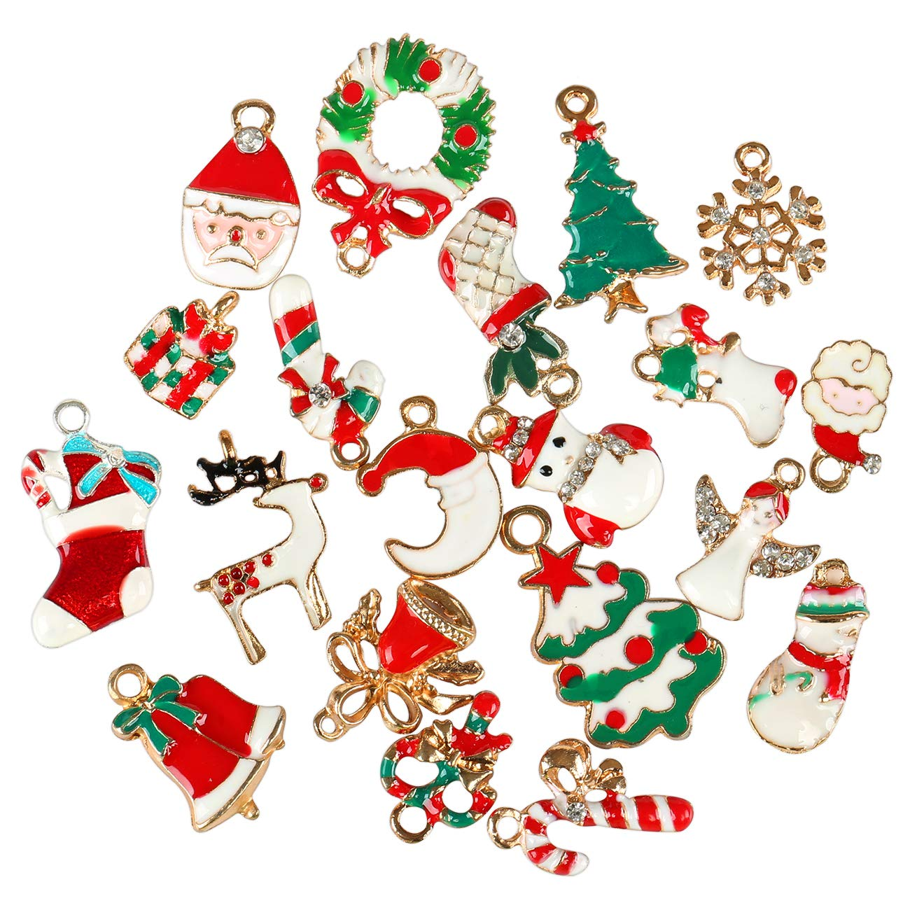 Naler 20pcs Christmas Charms Pendants for Bracelet Necklace Jewelry Making Scrapbooking Xmas Party Decoration Costume