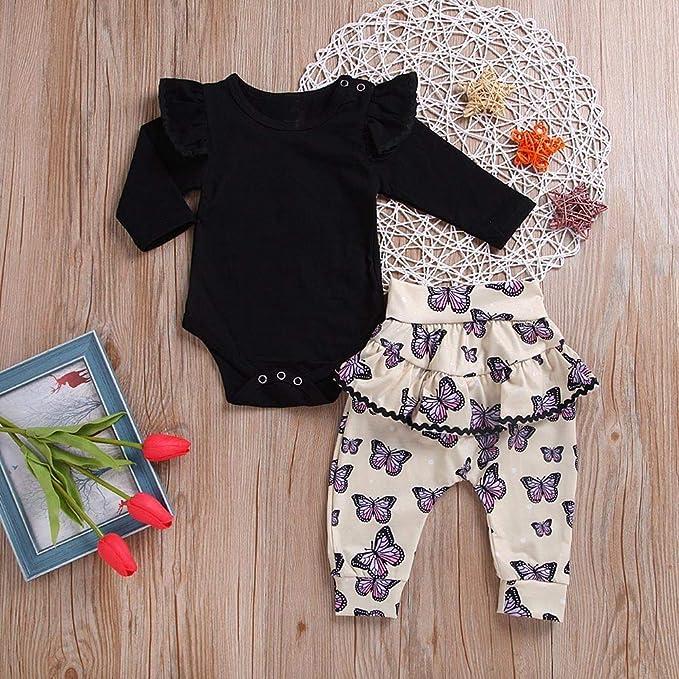 Feixiang Bebé recién Nacido Set para niños Bebé de Manga Larga Estampado de Manga Larga + Pantalones con Estampado de Mariposas Conjunto de Dos Piezas Ropa ...