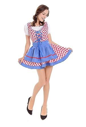 Amazon.com  Rothario German Dirndl Dress Oktoberfest Costumes for Women  Fraulein Beer Girl Maid Fancy Party Dress (L fc205f082bef