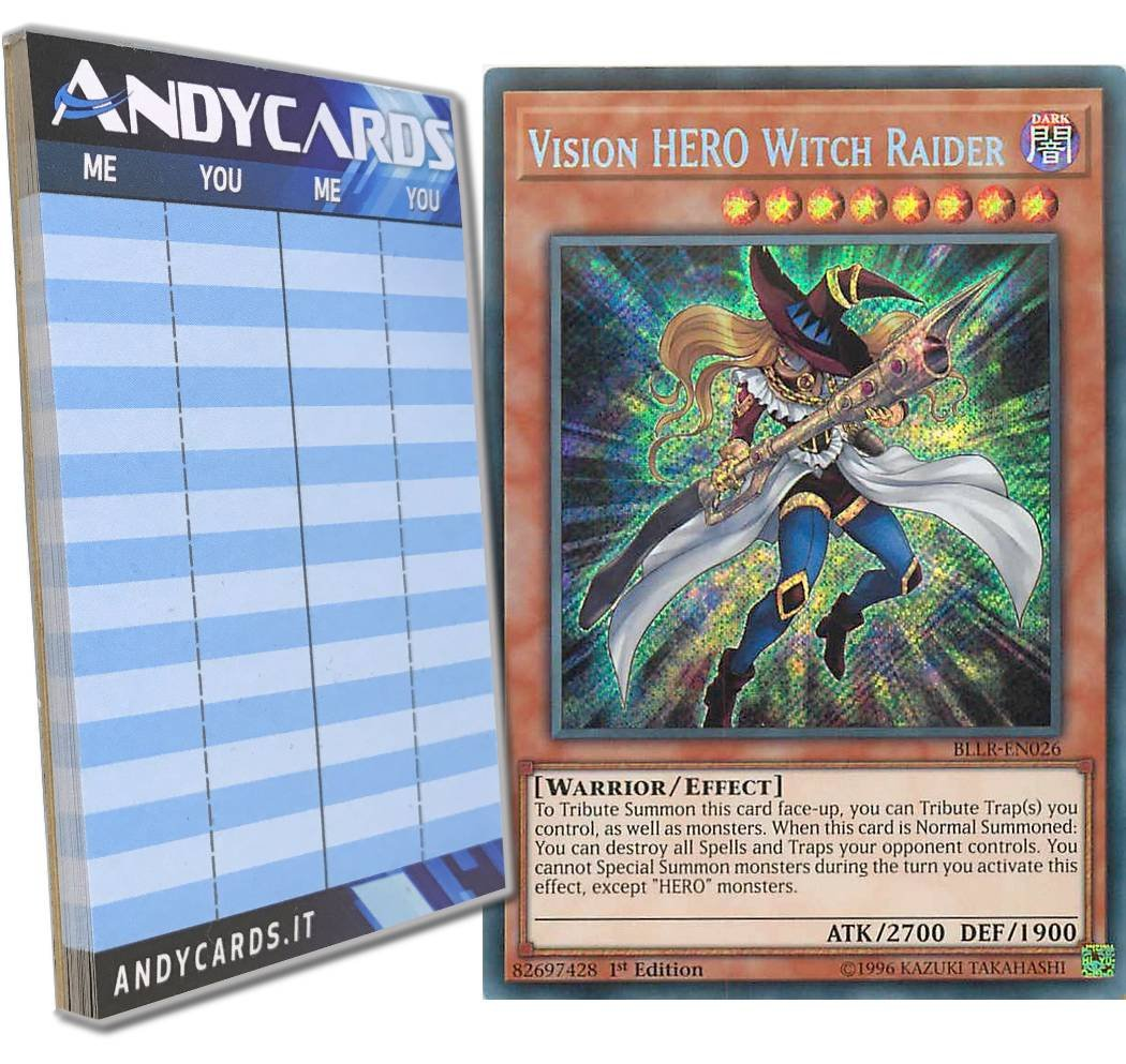 Yu-Gi-Oh! - VISION HERO WITCH RAIDER - Secret BLLR-EN026 in ENGLISH + Andycards Scorepad