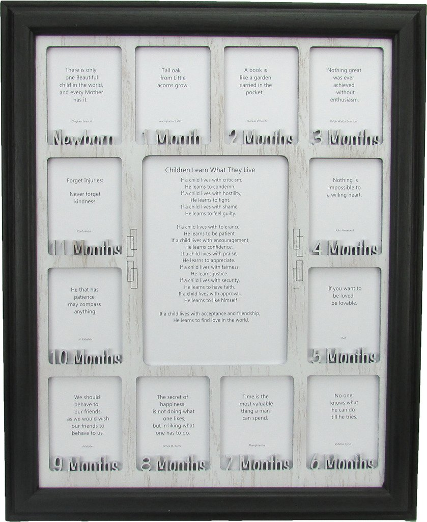 Northland Frames and Gifts Inc - Baby First Year Picture Frame - Baby 12 Months Photo Frame Black Picture Frame and White Wooden Matte, 11x14 by Northland Frames and Gifts Inc