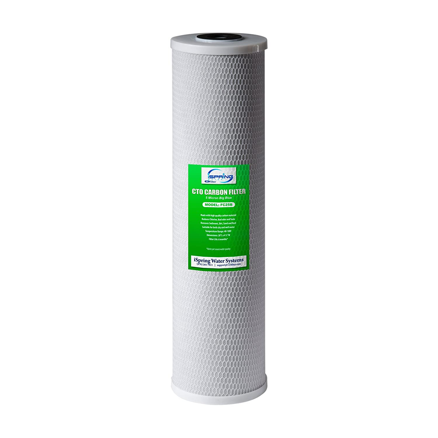 """iSpring FC25B High Capacity 20"""" x 4.5"""" Water Filter Replacement Cartridges - CTO Carbon Block - Fits Standard 20"""" x 4.5"""" Whole House Water Filtration Systems - Reducing up to 99% Chlorine - Pack of 1"""