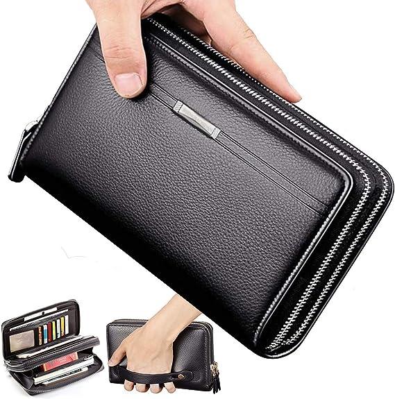 Men Genuine Leather Business Wallet Zip Clutch Passport Holder Bag Soft Handbag