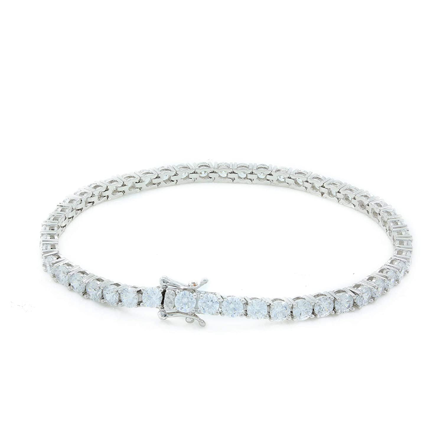 Bling Bling NY Unisex 4mm Real Solid 925 Sterling Silver Tennis Chain CZ One Row Choker Necklace 16-30 Bracelet 6.5-9 Anti-Tarnish