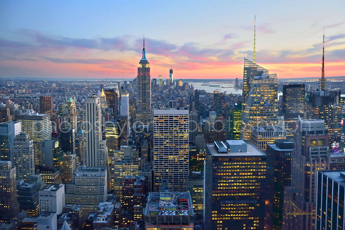 New York City NYC Skyline DUSK 20 inches x 30 inches Manhattan Midtown Empire State Downtown COLOR Photographic Panorama Poster Print Photo Picture Standard Frame Size by photosbyjon