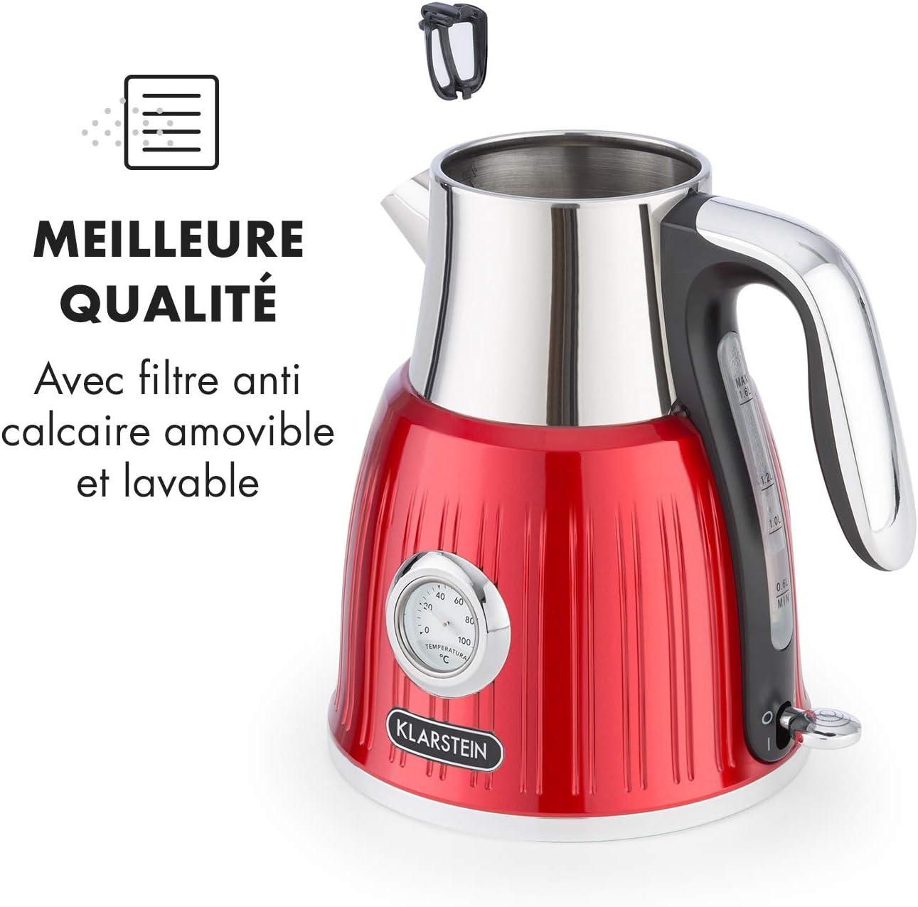 Klarstein Cancan Bouilloire électrique 1,6L 1800-2150W Base 360° Look rétro Rouge
