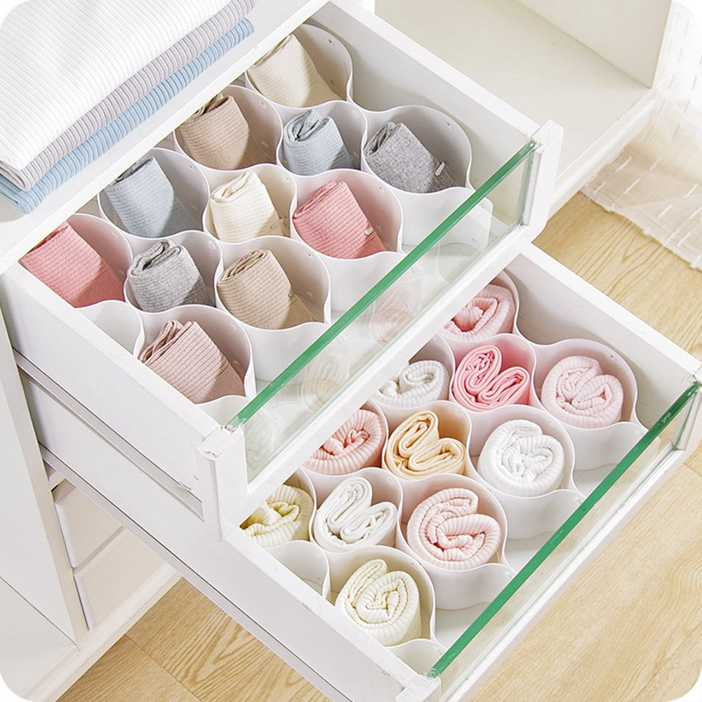 Honeycomb Drawer Organizer for Underwear Socks Bras Ties Belts Scarves