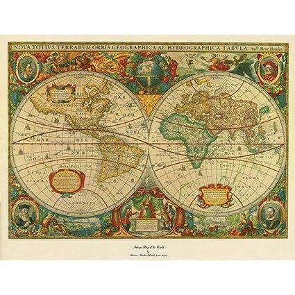 Amazon.com: Trademark Fine Art Old World Map Painting Canvas Wall ...