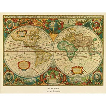 Old World Map Art. Trademark Fine Art Old World Map Painting Canvas Wall  36 by 48 Inch Amazon com