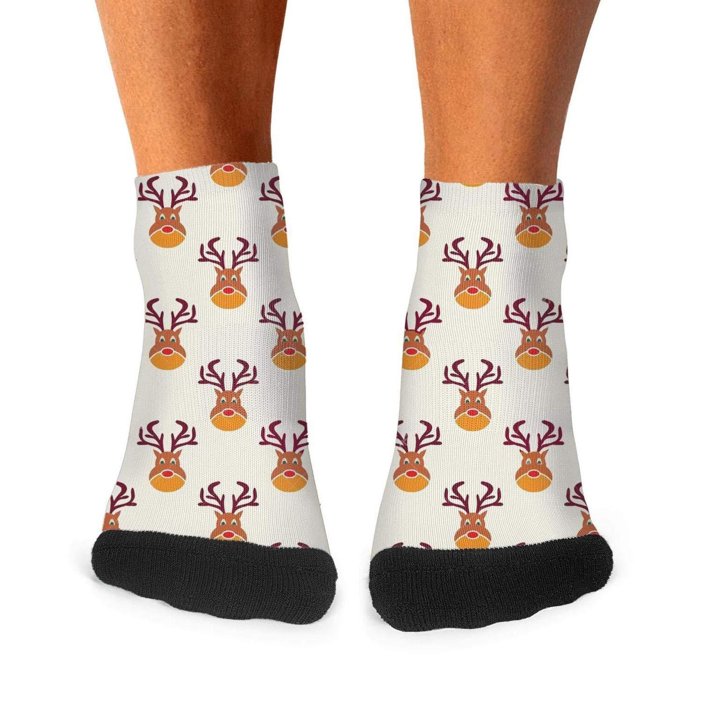 Mens Athletic Low Cut Ankle Sock Abstract Christmas Deer Pattern Wallpaper Short Lightweight Sock