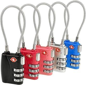 jmkcoz, 5 Pack Travel de Bloqueo de Seguridad TSA Equipaje Locks Cierres de combinación Contraseña Candado 3 dígitos Coded Lock Negro y Plateado Rosy Rosa, Azul: Amazon.es: Bricolaje y herramientas