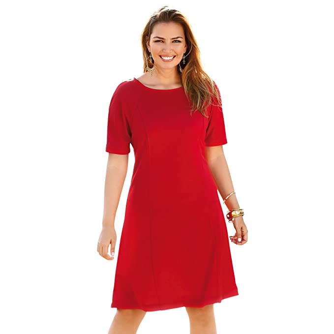 VENCA Vestido Escote Redondeado con Abertura lágrima en la Espalda y botón by Vencastyle,Rojo