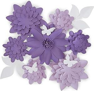 3D Paper Flowers, Purple Wall Decor (12 Pieces)