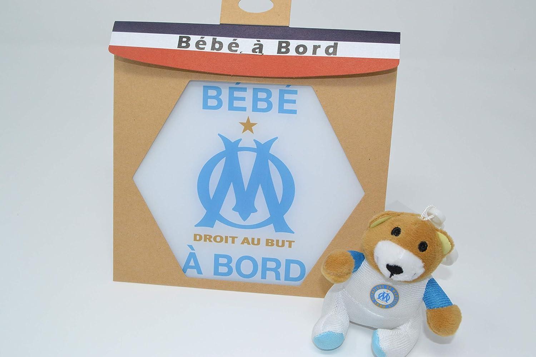 autocollant//stickers//Adh/ésif pour voiture R/ésine naturelle Irr/éversible bijoux B/éb/é /à bord de lOM officiel Olympique de Marseille