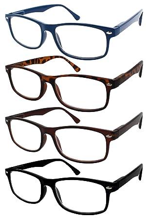 TBOC Gafas de Lectura Presbicia Vista Cansada - (Pack 4 Unidades) Graduadas +2.50 Dioptrías Montura de ...