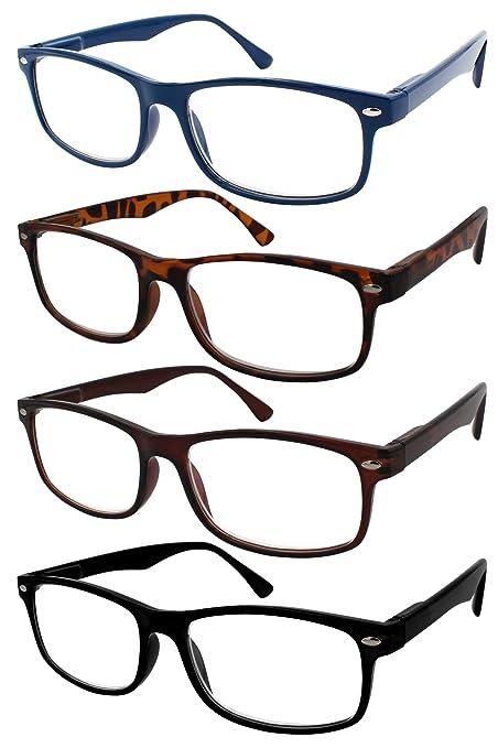TBOC Gafas de Lectura Presbicia Vista Cansada - (Pack 4 Unidades) Graduadas +2.50 Dioptrías Montura de Pasta Azul Marrón Negra Carey Diseño Moda ...