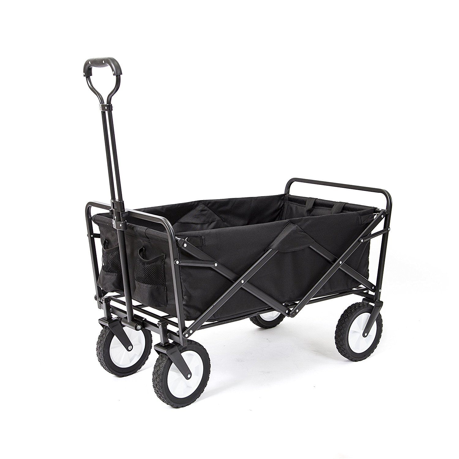 MEDA Collapsible Folding Outdoor Utility Wagon Cart (Black)