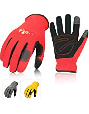 Vgo 3Pairs Nubuck Leather Multi-Functional Work Gloves (Size M,Red+Grey+Yellow,NB7581)
