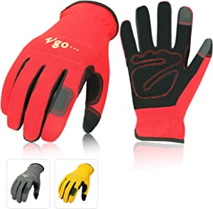 Vgo 3Pairs Nubuck Leather Work Gloves (Size XL,Red+Grey+Yellow,NB7581)