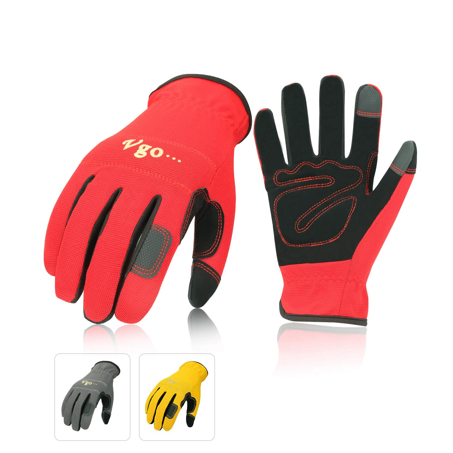 Vgo… Nubuck Leather Work Gloves (3 Pairs, Red+Grey+Yellow, Size 8/M,9/L,10/XL)