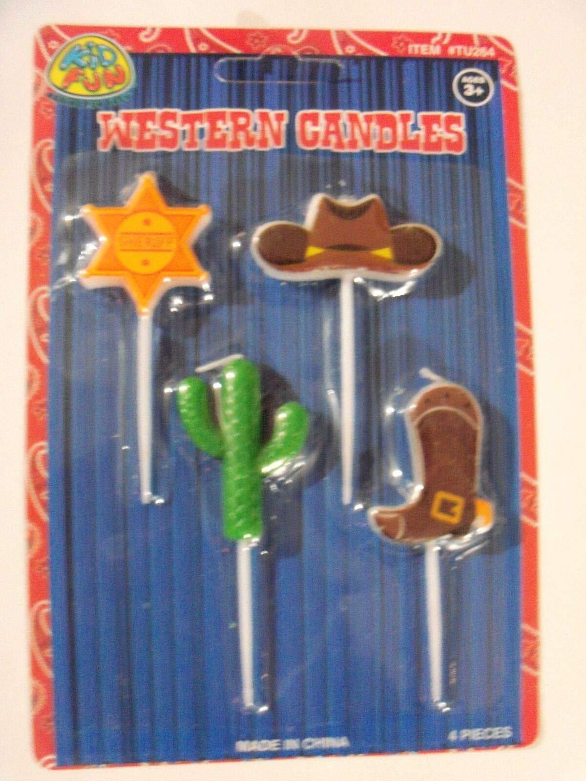 Western Shape Novelty Candle Set Party Cake (4) Sheriff Cactus Cowboy Boot Hat