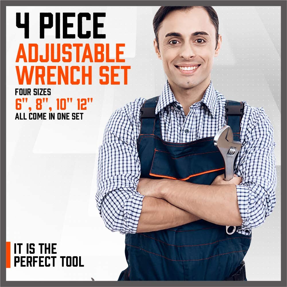 8-inch HORUSDY 4-Piece Adjustable Wrench Set 150-300mm 10-inch 12-inch 6-inch