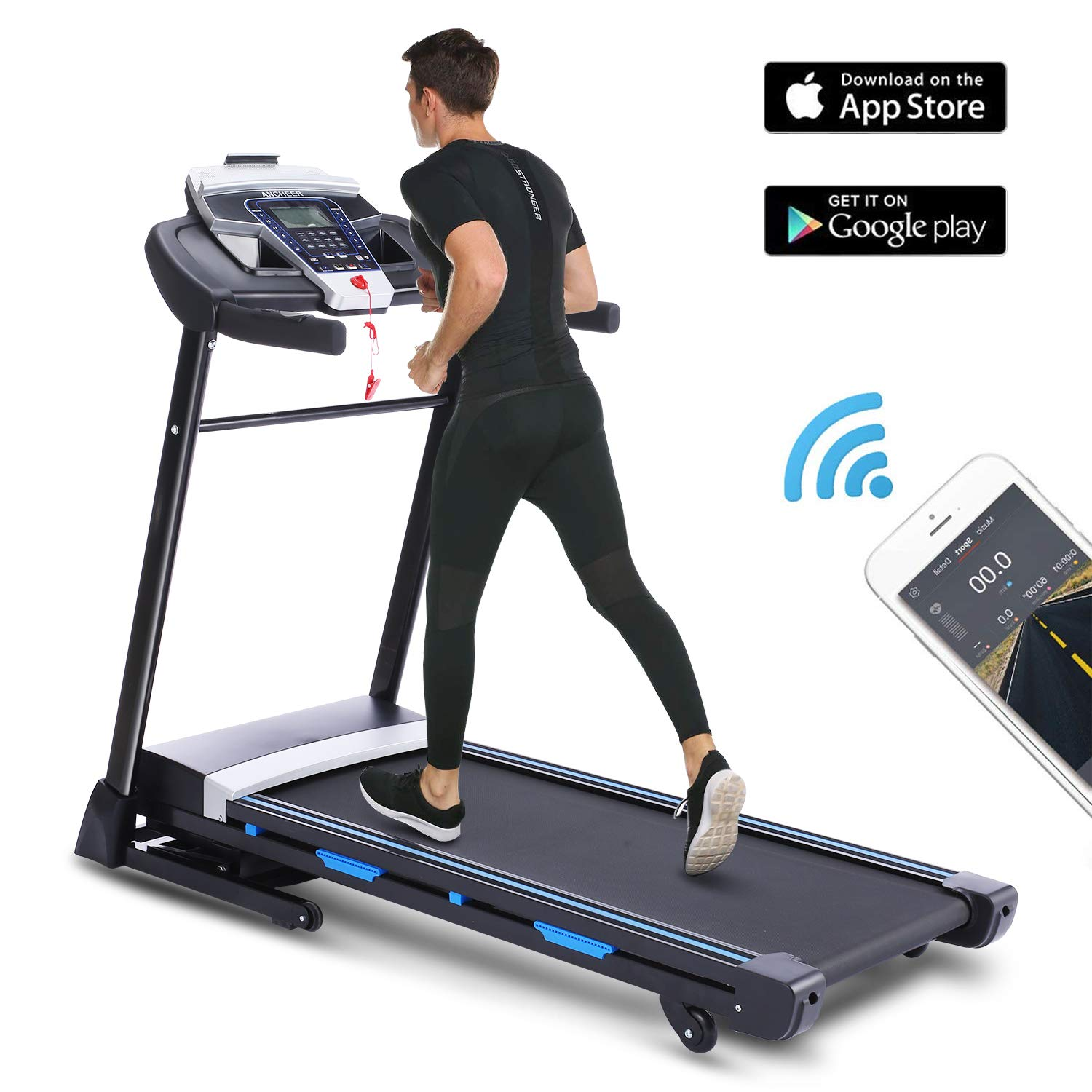 ANCHEER Folding Treadmill with APP Control, 3.25HP Automatic Incline Treadmill, Portable Treadmill Walking Running Machine with Audio Speakers for Home Gym