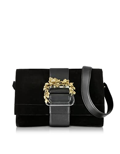 68dfa57334 Roberto Cavalli Designer Handbags Black Velvet   Leather Shoulder Bag   Amazon.co.uk  Shoes   Bags