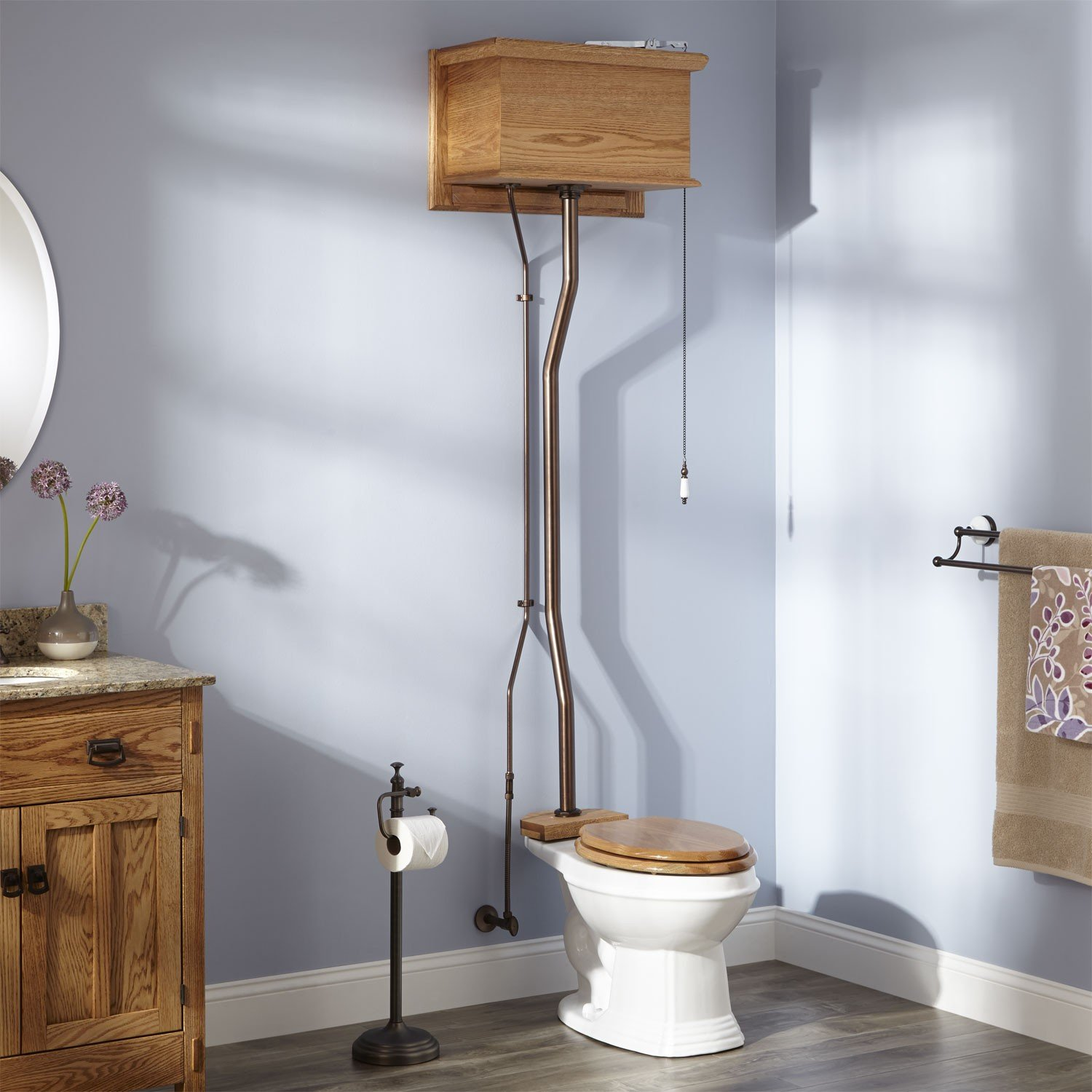 Naiture Golden Oak High Tank Pull CHAIN Water Closet With Elongated Bowl in Oil Rubbed Bronze Finish by SH