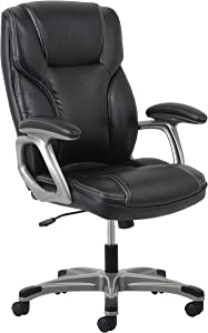Essentials High-Back Leather Executive Office/Computer Chair with Arms - Ergonomic Swivel Chair (ESS-6030-BLK) (Renewed)