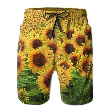 b57c45538c Beautiful Sunflower Mens Slim Fit Quick Dry Short Swim Trunks With Mesh  Lining   Amazon.com