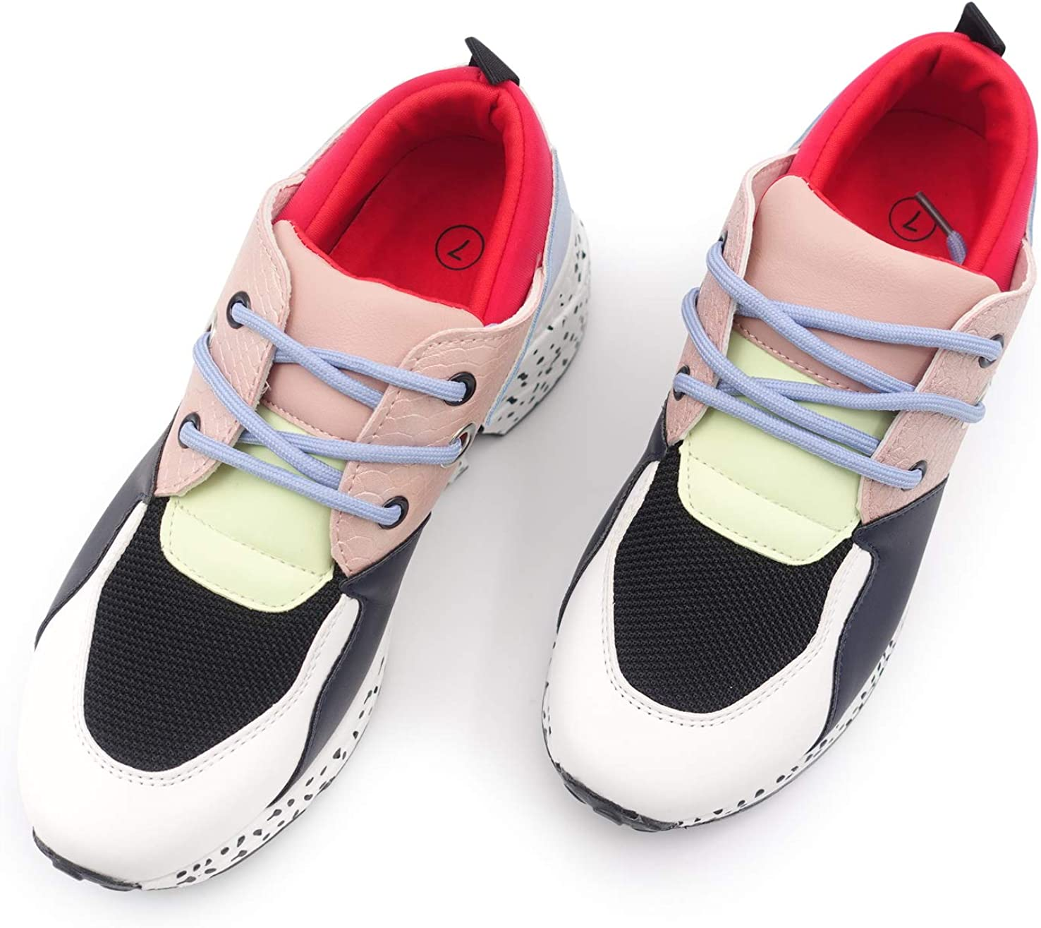 LUCKY STEP Womens Leopard Colorblock lace up Sneakers Cosy Chunky Climbing Hiking Running Shoes.