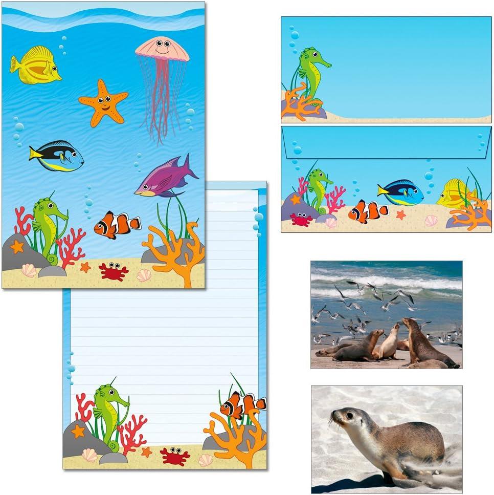 1 Schreibblock DIN A4 15 Briefumschl/äge DIN lang 7260+Bu 1 Schreibblock + 15 Kuverts mit Mappe sch/öne Unterwasserwelt