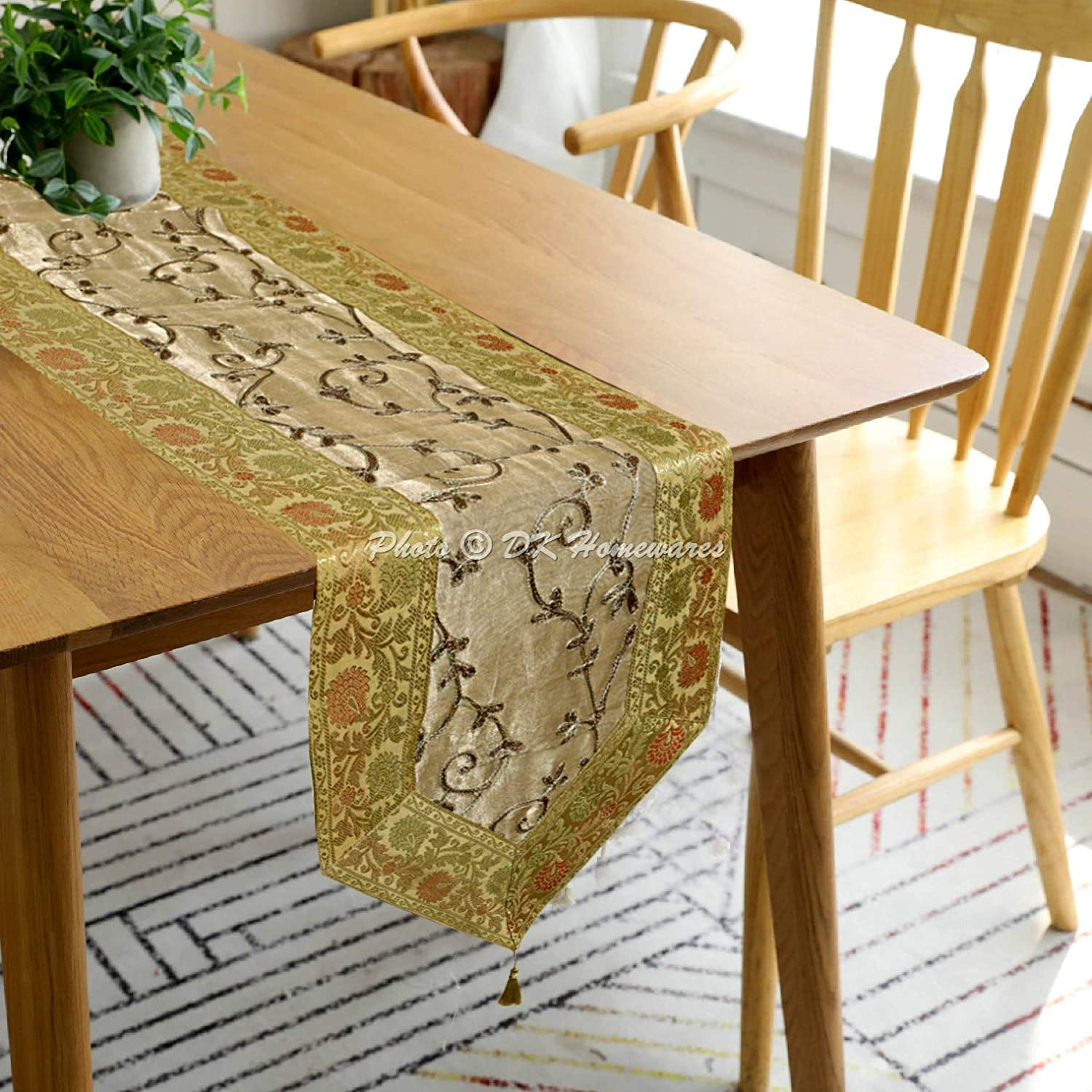 Dk Homewares Indian Ethnic Embroidered Jacquard Floral Kitchen Decoration Centerpiece Gold Grey Brocade Tissue Fabric Birthday Party 180 X 35 Cm Table Runner 6 Ft 72 X 14 Inches Home Kitchen