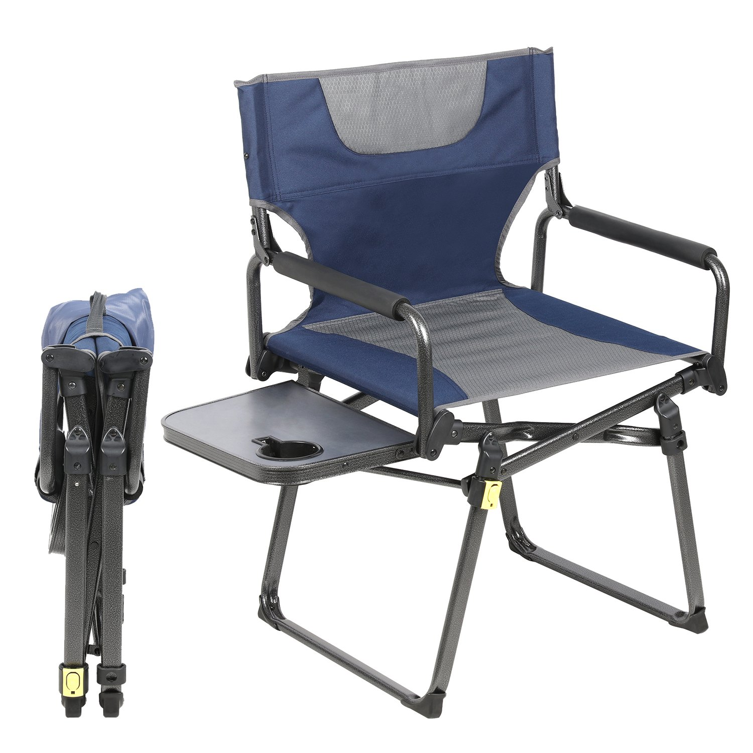 PORTAL Compact Camp Folding Director's Chair with Locking System and Carry Straps, Supports 300 lbs