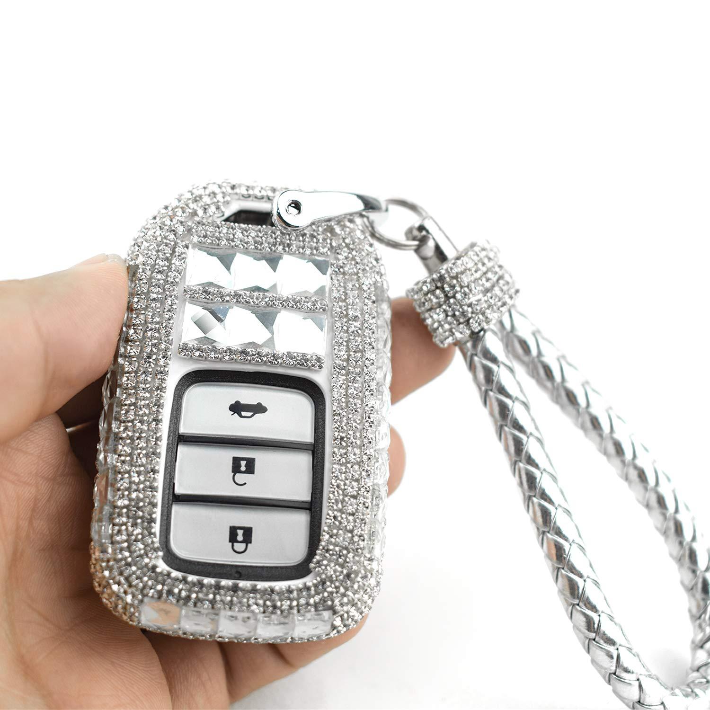 PGONE Car Key Case Key Shell Fob Key Cover Key Chain Lady Key Ring with Bling Diamond Crystals for Honda Civic Accord Fit CRV HRV Pilot Odyssey 2//3-button Keyless Entry Remote Control Smart Key