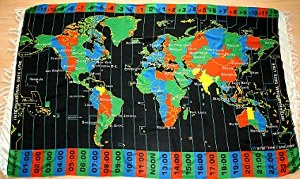Amazon.com : Black World Time Zone Map on Cloth- with Standard Time ...