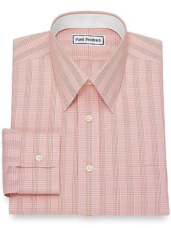 fc37e86710d0 Paul Fredrick Men's Non-Iron Cotton Glen Plaid Dress Shirt Melon 15.0/35