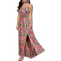 REPHYLLIS Women Sexy Split Halter Backless Print Chiffon Maxi Summer Long Dress