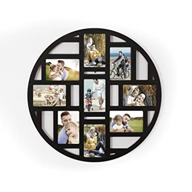 Deco De Ville 9 Opening Round Circular Shape Decorative Puzzle Collage Picture Photo Frame, Wall Hanging, Black