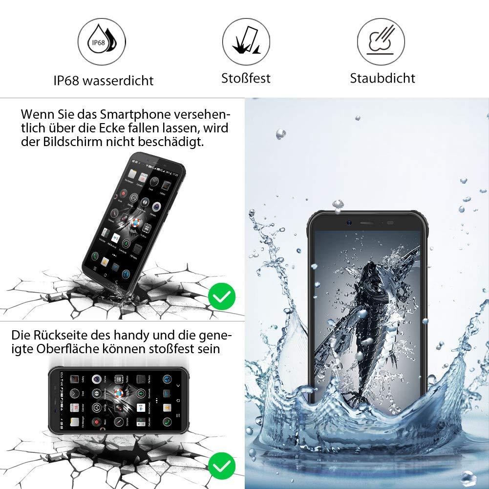 Outdoor Smartphone ohne Vertrag 3GB RAM+16GB Speicher+128 GB SD Karte Blackview BV5500 Pro 4G Outdoor Handy Android 9.0 mit IP68 Wasserdicht 5.5 Zoll Handy 4400mAh Akku Schwarz NFC//Face ID