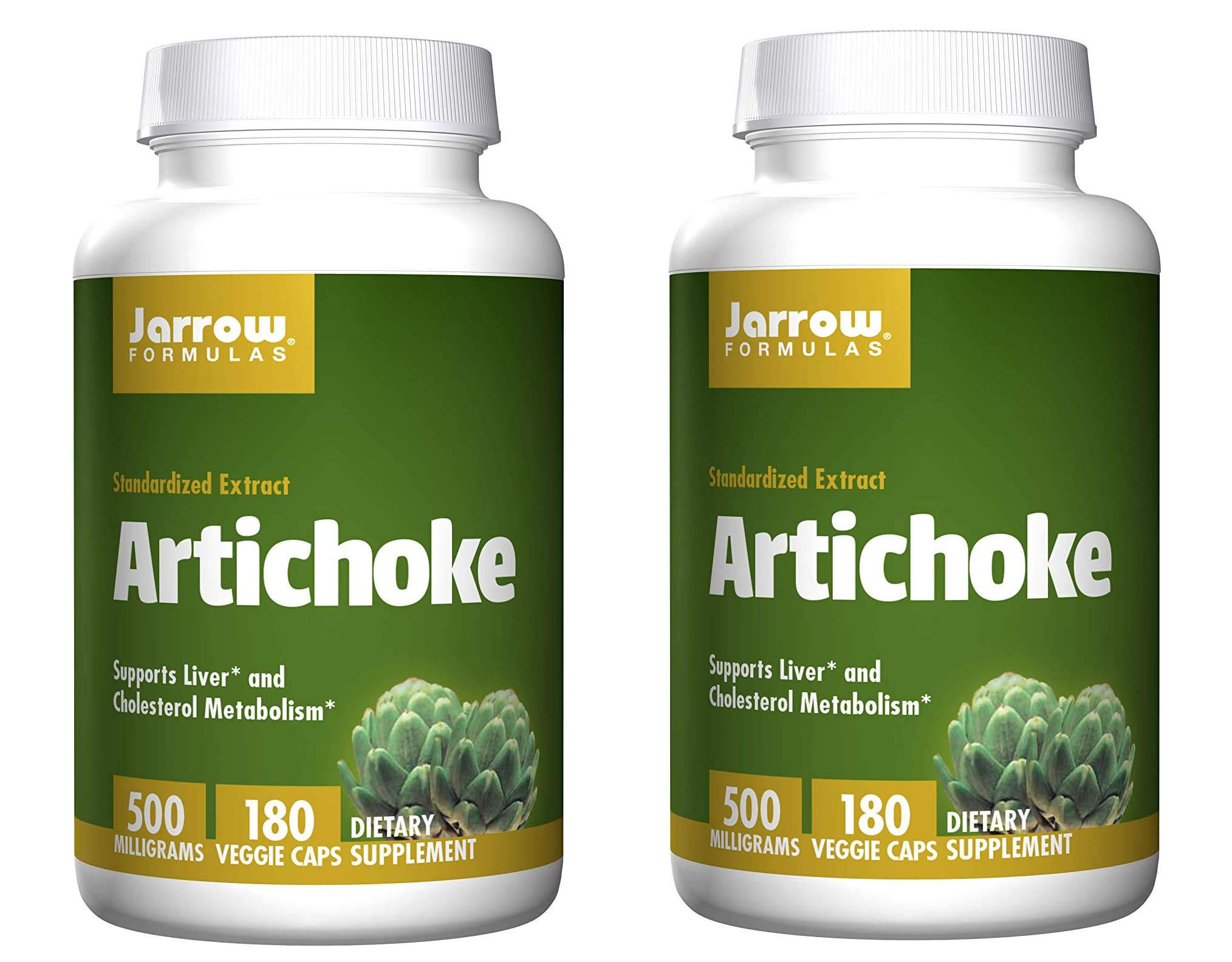 Jarrow Formulas Artichoke Standardized Extract for Healthy Liver and Cholesterol Metabolism 500 Milligrams (180 Veggie Caps) Pack of 2