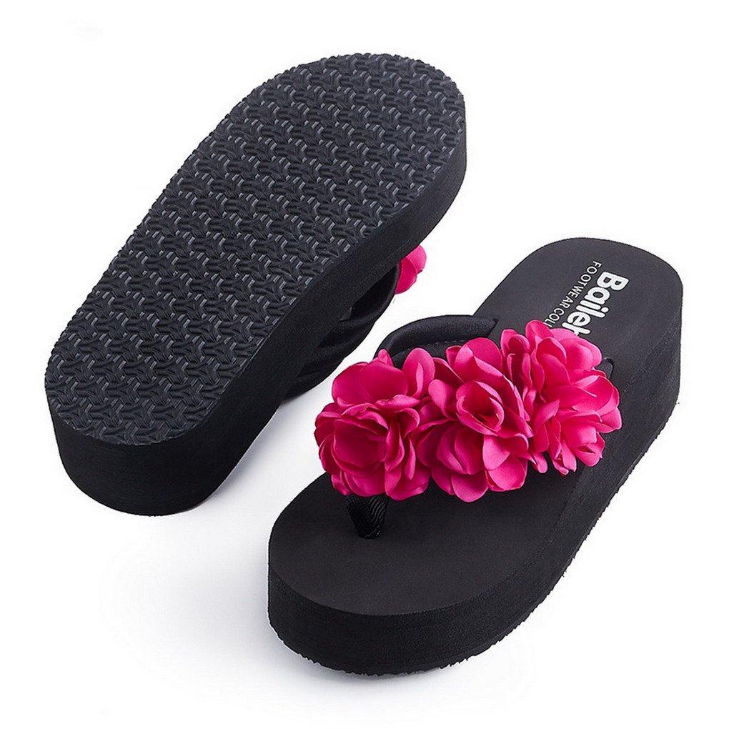 f8dfafa03687c Evedaily Tongs Femmes Flip Flop Compensées Antidérapants Casual pour Plage  Vacances Quotidien  Amazon.fr  Chaussures et Sacs