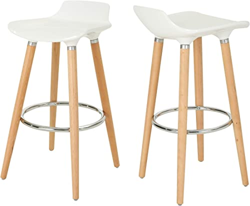 Christopher Knight Home Stone Bar Stools-Plastic Tractor Beechwood Legs-White and Natural Finish